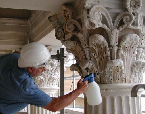 Test application of hydroxylating conversion treatment to marble capital. Statehouse, MA, 2001